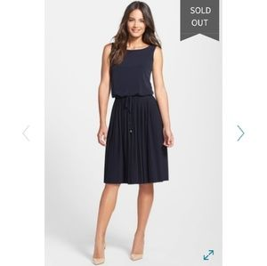 Ivanka Trump Navy Dress Pleated Skirt Jersey NWT